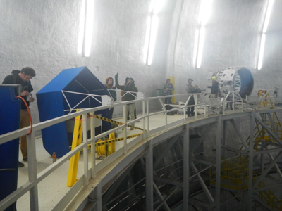 Crew and others on the Keck II bridge, inside the dome