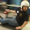 Dustin Roten on a skateboard propelled by a fire extinguisher