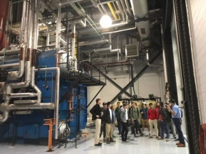 Pre-engineering students getting a tour of the physical plant